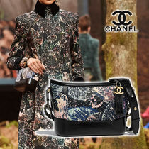 CHANEL Flower Patterns Calfskin Blended Fabrics Street Style 2WAY