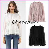Chicwish Peplum Blended Fabrics Long Sleeves Medium Lace