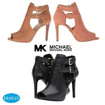 Michael Kors Open Toe Plain Leather Pin Heels Elegant Style