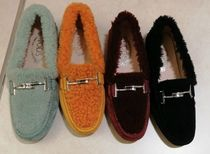TOD'S Plain Toe Moccasin Casual Style Suede Blended Fabrics Plain
