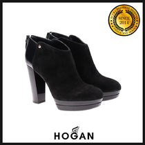 HOGAN Plain Toe Suede Blended Fabrics Plain Block Heels