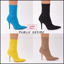 PUBLIC DESIRE Casual Style Faux Fur Plain Pin Heels Ankle & Booties Boots