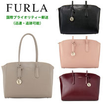 FURLA Plain Leather Office Style Oversized Handbags