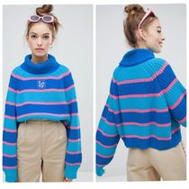 LAZY OAF Stripes Casual Style Rib Street Style Long Sleeves Cotton