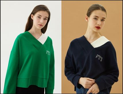 Short Street Style V-Neck Bi-color Long Sleeves Plain Cotton