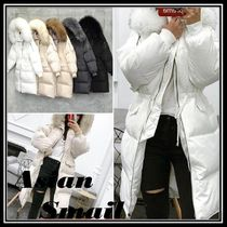 Faux Fur Blended Fabrics Plain Medium Parkas