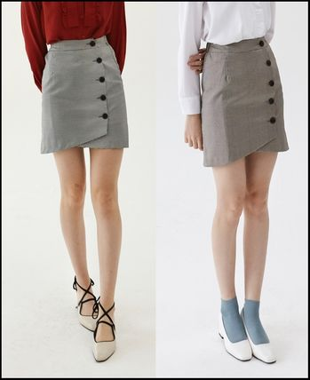 Short Other Check Patterns Street Style Skirts