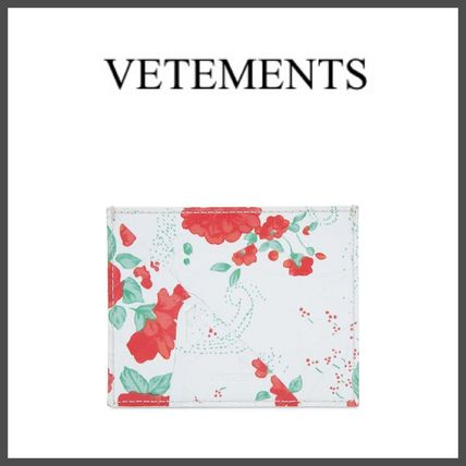 Flower Patterns Unisex Street Style Leather Card Holders