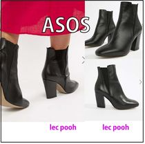 ASOS Round Toe Casual Style Plain Leather Chunky Heels