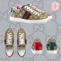GUCCI Ace Monogram Unisex Street Style Other Animal Patterns Sneakers