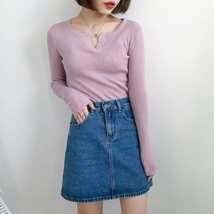 More Knitwear Cable Knit Street Style Long Sleeves Plain Cotton Medium 4