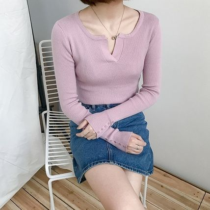 More Knitwear Cable Knit Street Style Long Sleeves Plain Cotton Medium 5
