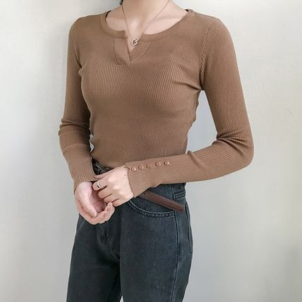 More Knitwear Cable Knit Street Style Long Sleeves Plain Cotton Medium 6