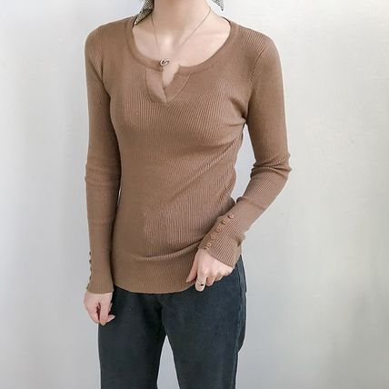 More Knitwear Cable Knit Street Style Long Sleeves Plain Cotton Medium 7