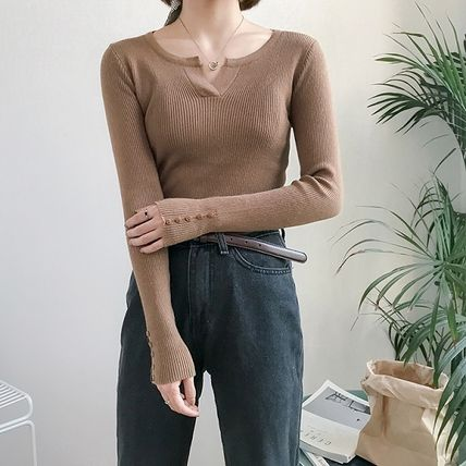 More Knitwear Cable Knit Street Style Long Sleeves Plain Cotton Medium 8