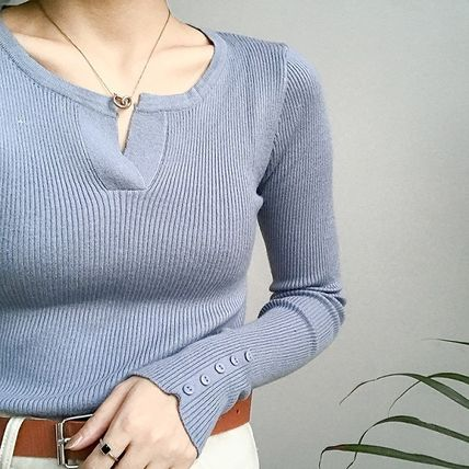 More Knitwear Cable Knit Street Style Long Sleeves Plain Cotton Medium 9