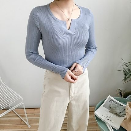 More Knitwear Cable Knit Street Style Long Sleeves Plain Cotton Medium 10