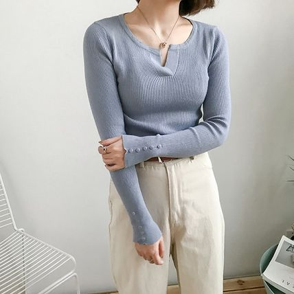 More Knitwear Cable Knit Street Style Long Sleeves Plain Cotton Medium 11