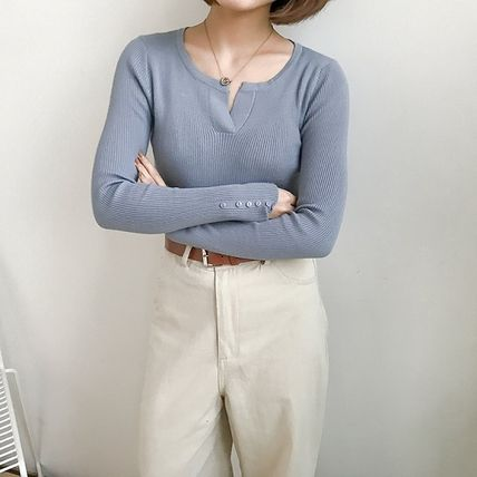 More Knitwear Cable Knit Street Style Long Sleeves Plain Cotton Medium 12