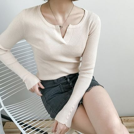 More Knitwear Cable Knit Street Style Long Sleeves Plain Cotton Medium 13