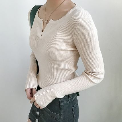 More Knitwear Cable Knit Street Style Long Sleeves Plain Cotton Medium 14