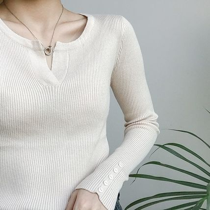 More Knitwear Cable Knit Street Style Long Sleeves Plain Cotton Medium 16