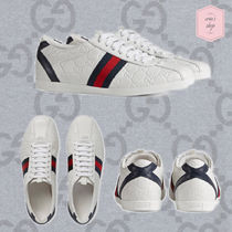 GUCCI Stripes Monogram Unisex Street Style Leather Sneakers