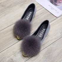Faux Fur Blended Fabrics Plain Block Heels Party Style