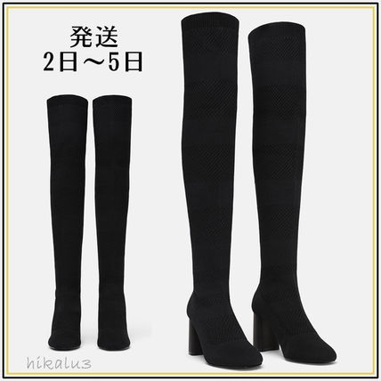 Plain Block Heels Elegant Style Over-the-Knee Boots