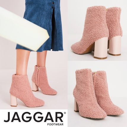 Plain Toe Casual Style Block Heels Ankle & Booties Boots