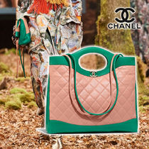 CHANEL Lambskin Blended Fabrics Street Style 2WAY Plain