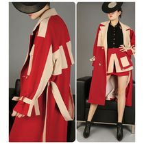 Casual Style Bi-color Long Trench Coats