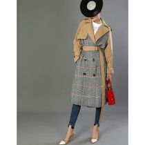 Glen Patterns Plain Long Office Style Trench Coats