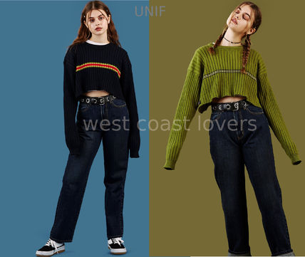 Stripes Casual Style Long Sleeves Cotton Sweaters