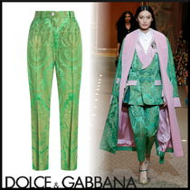 Dolce & Gabbana Flower Patterns Street Style Long Cropped & Capris Pants