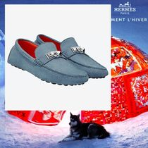 HERMES Driving Shoes Suede Studded Plain Loafers & Slip-ons
