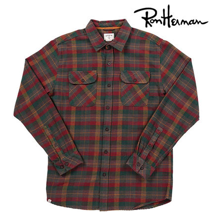 Gingham Tartan Street Style Long Sleeves Cotton Handmade