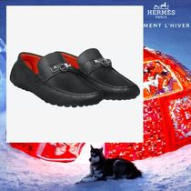 HERMES Driving Shoes Studded Plain Leather Loafers & Slip-ons