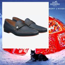 HERMES Loafers Studded Plain Leather Loafers & Slip-ons