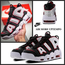 Nike AIR MORE UPTEMPO Stripes Street Style Bi-color Leather Sneakers