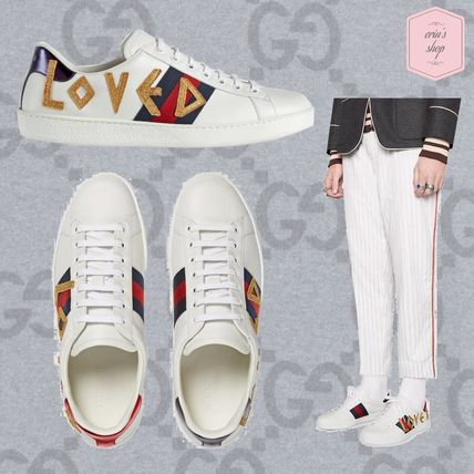 909e4eb2f47 ... GUCCI Sneakers Stripes Blended Fabrics Street Style Plain Leather  Sneakers ...