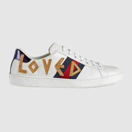 a12835dd0e0 ... GUCCI Sneakers Stripes Blended Fabrics Street Style Plain Leather  Sneakers 2 ...