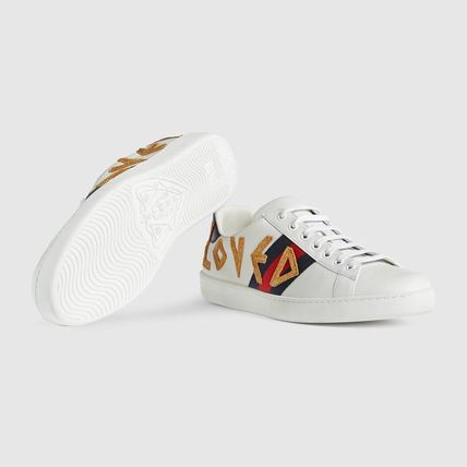 0ac13221374 ... GUCCI Sneakers Stripes Blended Fabrics Street Style Plain Leather  Sneakers 6 ...