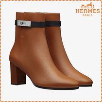 HERMES Plain Leather Block Heels Elegant Style