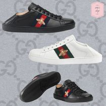 GUCCI Ace Stripes Blended Fabrics Plain Leather Sneakers