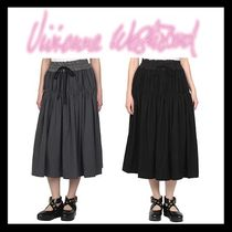 Vivienne Westwood Flared Skirts Casual Style Plain Cotton Long Maxi Skirts