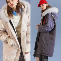 ELF SACK Fur Street Style Other Animal Patterns Long Down Jackets
