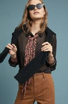 Anthropologie Dots Long Sleeves Medium With Jewels Shirts & Blouses