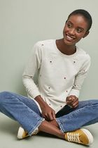 Anthropologie Flower Patterns Long Sleeves Medium Party Style With Jewels
