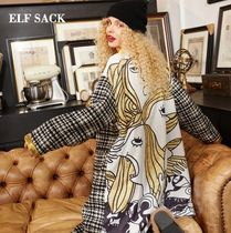 ELF SACK Other Check Patterns Casual Style Street Style Long Coats